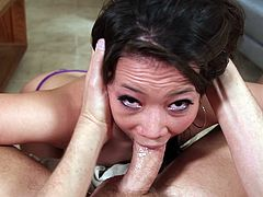 I fuck this Asian slut's face so hard, that she chokes and coughs up a lot of spit. Look at how she deepthroats and slobbers all over my massive cock. Soon I will be ready to blow a thick load of cum in her pretty mouth. What a slut she is!