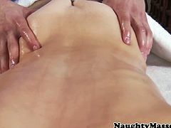 Pretty hot Jenni Lee is in the massage table all naked and this lucky masseur got the opportunity to caress and fondle her oily goodies making her horny as they start to fuck.