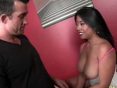 Tit massage turns on the Asian to suck his dick
