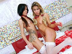 Red is the dominant color preferred by two slutty shemales. A tattooed ladyboy, Gabriela, feels free to get loose in the company of Gaby, a blonde sensual shemale with appetizing cock. Click to see the brunette tasting the yummy dick, until a guy makes his appearance. See the horny trio getting wild in bed!