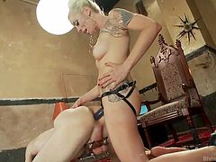 This divine bitch beats his ass red with the whip and then shoves her strap on deep inside his asshole. She stretches out the male slut's ass really good. Look at her thrust and pound until he is moaning hard.