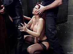 What good is a sexy body, if she doesn't has the skills to satisfy men properly. Here at The Training of O we make sure that naughty sluts, such as Syren, learn everything they need in order to become good, obedient whores. Today's lesson is about serving a drink and sucking the cock. Will she learn it?