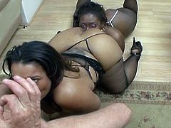 Ultimate cock sharing encounter as these big tits fat ebony sluts sizzle super hard in hot cum swapping nasty session.