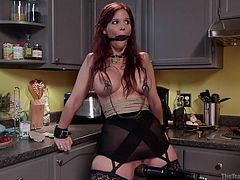 Love bondage activities? Then watch the video! A redhead bitch is a dominant man's slave and must obey his every kinky wish... For instance, see her wearing a ball gag and a neck collar. Clamps have been attached to her nipples, putting in evidence her big wonderful tits. Slutty Syren is aroused with a vibrator.