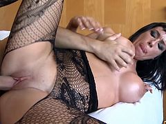 Asstastic brunette mom in sexy crotchless panties rides huge dick in  reverse cowgirl pose