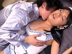 Awe-inspiring Bigtitted Chinese Maid Ai Hoshimiya got laid By Her chief For cumload