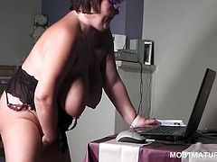 Naked BBW in glasses masturbates mature cunt on the web