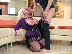 Xander visited his friend's mom and she was turned on by the site of him. She always had a crush on him. She pulls out her massive breasts and let him stick his cock in between her sweater meat. Look at her titfuck him and suck on his dong. He rammed the blonde bitch hard from behind.