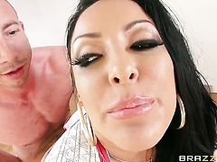 Jordan Ash buries his rock hard dick in hot bodied Kiara Mias ass way before cock sucking