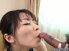 Whorable Japanese brunette lady with small tits sucks tasty lollicock