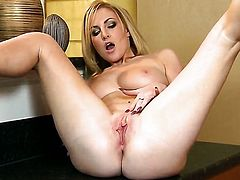 Georgie Lyall with huge breasts and smooth bush cant live a day without dildoing her cunt