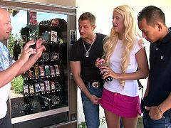 She was just out going for a nice walk and she stopped by the vending machine for a snack, when she was accosted by three burly men, who wanted to fuck her. The group went back to their place and Courtney sucked on their massive cocks, and jacked them off.