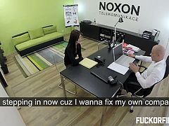 Rumors spreading in the office as this hot office worker is banging their boss and it is true as caught on this camera as she is desperate to keep her job in exchange for her tight pussy.