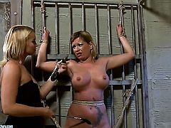 Blonde Kathia Nobili with juicy knockers is hungry for lesbian sex and gets used by Pamela
