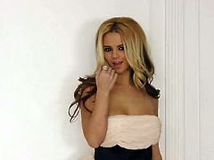 Ashlynn Brooke just got from her house after party and she is wearing a beautiful dress. She love to dress up teasingly here showing off her sweet curvy body.