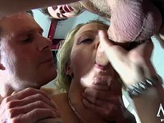 Ivette takes on a group of horny men that just want to cum all over her face.