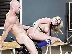 Johnny Sins pulls out his pole to fuck Brianna Brooks with huge melons