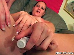 BBW lusty lesbian slut gets her pink cunt licked in close-up