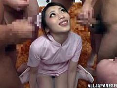 Nippon medical system is the best, with such beautiful and open minded nurses, it's always a pleasure to pay the doc a visit! This time the nurse, Ayu, felt very horny, so she made these guys felt a lot better. She rode one of them in cowgirl and almost begged for the cum of the others. Don't miss it!