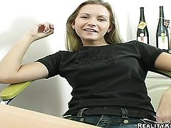 Blonde Jana with bubbly butt and trimmed beaver touches her hole and breasts in a tempting manner