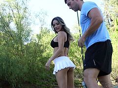 She was out on the tennis courts with her man having a lesson, and they were both impressed by the tennis coach. They got the bright idea to invite him back to their place, where she sucked and rode cock at the same time. Nadia was being eaten out, as she sucked cock. It's so fun for her to fuck and suck!
