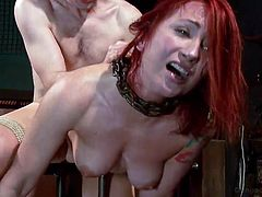 Sophia is a horny guy's slave and her place belongs in the dungeon. The naked redhead with tattoos and small tits has chains around her pretty neck... See the brutal blowjob, she is being subject to. The captive lady is then tied up with ropes, while the dominant guy bangs her hard from behind. Enjoy the view!