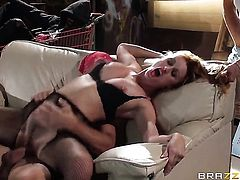 Lovely whore Karlie Montana satisfies her sexual needs with horny guy Johnny Sins
