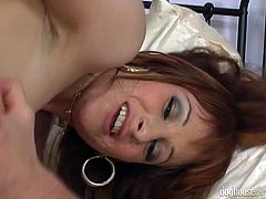Lustful red head gets her hairy pussy and anus fucked