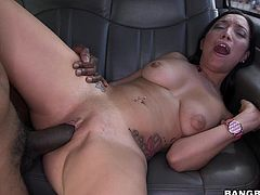 Slutty Vivianna has already undressed and enjoys her time in the bang bus. The atmosphere gets hotter, as she gets aroused. The seductive slim brunette babe is hardly waiting to taste her ebony partner's big cock. See the blowjob scene. The bitch seems very flexible, when spreading widely her sexy long legs...