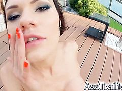 Incredibly hot doll wants his meat pole to fuck her anal hard