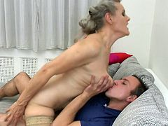 Mature bitches get thrilled at the sight of a horny cock and all they want, is to play naughty games with it all day long. It's also the case of slutty Birgitta, who would suck her partner's dick from any position. Watch the bitchy naked woman on top, riding cock with passion, while her tits are being licked.