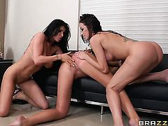 Breanne Benson is in the mood for lesbian sex and gives it to Romi Rain