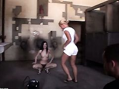 Blonde Mandy Bright with gigantic knockers and lesbian Kathia Nobili are horny for each other