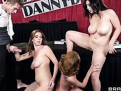 Danny D makes Ashley Graham gag on his meaty meat stick