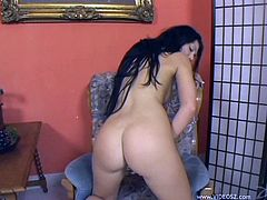 Horny Brunette with Natural Tits Pleasuring herself as she Masturbates by Fingering her Shaved Pussy and Asshole In Solo Model Close Up