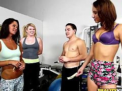 Are these girls in the gym for working out or for fucking for money? Well, I guess we could say that they are somehow working out for money. Just look at them, fucking sluts going down on their knees, and sucking cock for the right amount of cash. Oh yeah, these bitches deserve a tip on their faces!