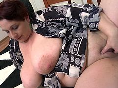 Horny bbw mature lady wants to play and please herself. So she squeezes her own huge titties and fingers her twat wildly, to be satisfied. Watch her taking out her favorite toy and plays with it fiercely. She tit fucks herself with it, licks and sucks it, plays with her nipples. Let's check her out!