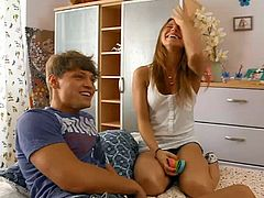 Visit official Paradise Films HD's HomepageRedhead in heats tries two cocks in the same time, one smashing her ass and the other her mouth in serious porn moments