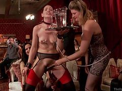 Jodi and Sarah love sex and they don't really care, if they are doing behind close doors or in front of every one. Watch the two hot girls getting clamps on their nipples and sucking John's dick, just to please themselves, the man and the crowd they are performing for. They don't mind getting down and dirty and they love it, when a man drills them with his hard cock.