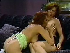 Frizzy redhead and short haired brunette lesbians love eating pussies