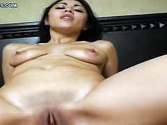 Brunette exotic Leilani with bald cunt has fire in her eyes while sucking mans stiff pole