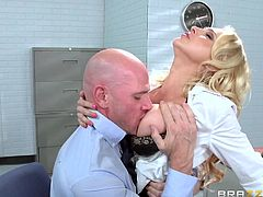 Have you ever got fantasies with your seductive co-worker? The blonde in the video got taken by surprise, when her colleague entered in her office and caught her putting on some sexy lingerie... See the bald guy sucking her nipples with a lusty desire and licking her pussy. Guess what? She seems to be pleased!