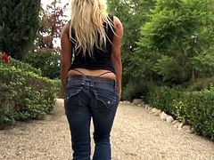 Sexy Embry Prada with Hot Ass In Thong is Asslicked and gives nasty Blowjob before her Shaved Pussy is Banged Doggystyle In Outdoor Close Up