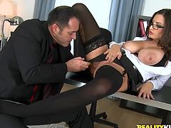 Do big tits influence your taste, when it comes to picking bitches? Jane is a lovely brunette whore, who is just craving to get pounded. Click to see the horny guy untie the milf's buttons and suck her nipples. The slut has got nice body curves and is excited to spread her legs widely. Enjoy the hardcore scenes!