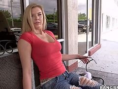 Lexi Davis is a blonde next door with hot ass. She lifts her red t-shirt up and then pulls her blue jeans down. She flaunts her nice tits and exposes her butt with her white panties on.