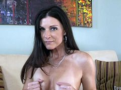 Ardent black haired MILF gets rid of clothes to masturbate a bit for joy