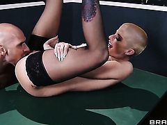 Johnny Sins admires sex crazed Joslyn Jamess body before she takes his fuck stick in her beaver