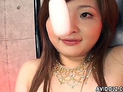 All natural pallid Japanese lady goes solo and tickles her bald pussy