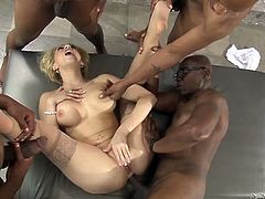 Insatiable blond housewife serves group of black dudes while her husband is out
