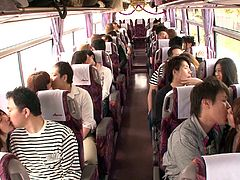 Watch these Japanese teens get naughty on a bus. They love to do it in public, even when the bus is full of people. Why? Well, that's the Japan of today for you. These girls are not scared to start fucking, no matter where they are. They can grab boobs and suck lips, no matter how many people are looking at them. These Japanese teens are wild and sexy.
